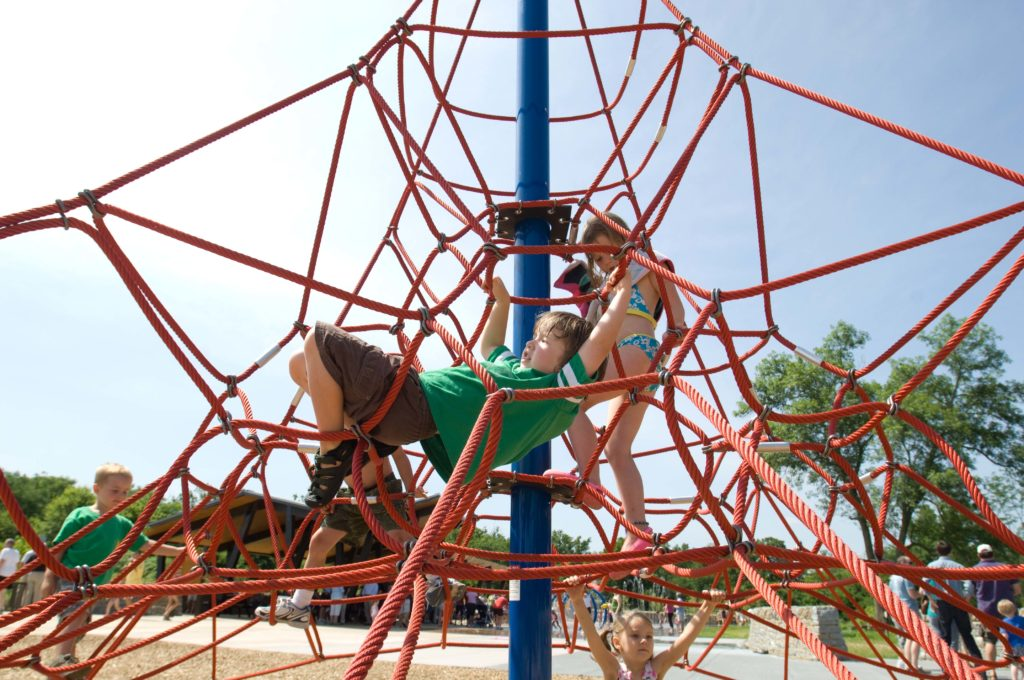 Children play in a playground