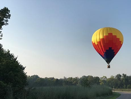 Hot air ballon takes off