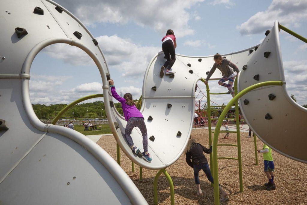 Children play on a playground