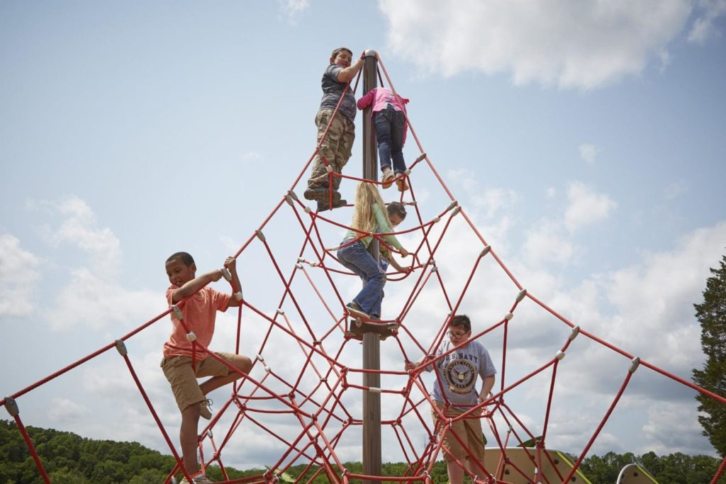 Children play on a playground