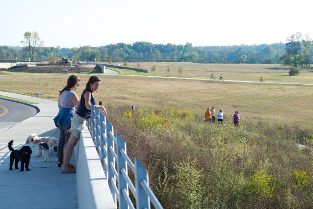 People overlook a field