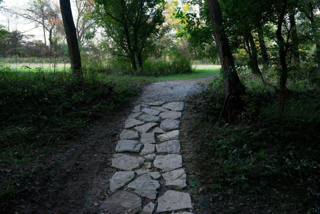 A rock walking path