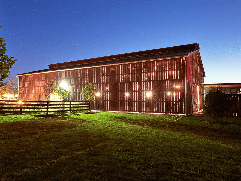 Barn venue at night