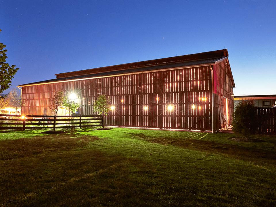 Barn venue at night